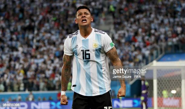 Marcos Rojo of Argentina celebrates after scoring his team's second goal during the 2018 FIFA World Cup Russia group D match between Nigeria and...