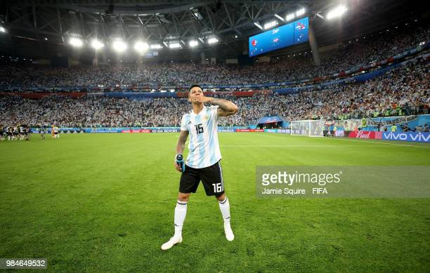 Marcos Rojo of Argentina celebrates victory following the 2018 FIFA World Cup Russia group D match between Nigeria and Argentina at Saint Petersburg...