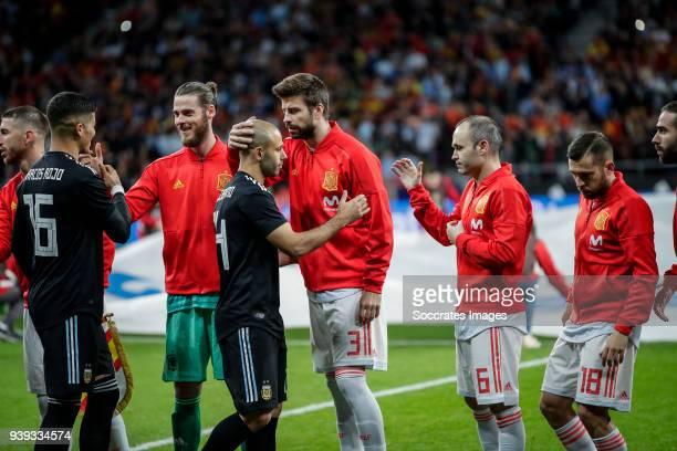 Marcos Rojo of Argentina David de Gea of Spain Javier Mascherano of Argentina Gerard Pique of Spain Andres Iniesta of Spain Jordi Alba of Spain...