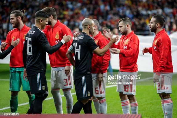 Marcos Rojo of Argentina David de Gea of Spain Javier Mascherano of Argentina Gerard Pique of Spain Andres Iniesta of Spain Jordi Alba of Spain Dani...