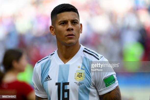 Marcos Rojo of Argentina during the 2018 FIFA World Cup Round of 16 match between France and Argentina at Kazan Arena in Kazan Russia on June 30 2018