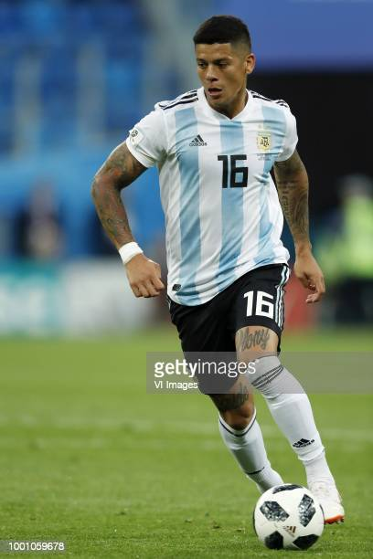 Marcos Rojo of Argentina during the 2018 FIFA World Cup Russia group D match between Nigeria and Argentina at the Saint Petersburg Stadium on June 26...