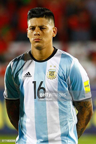 Marcos Rojo of Argentina looks on during the national anthem prior a match between Chile and Argentina as part of FIFA 2018 World Cup Qualifiers at...