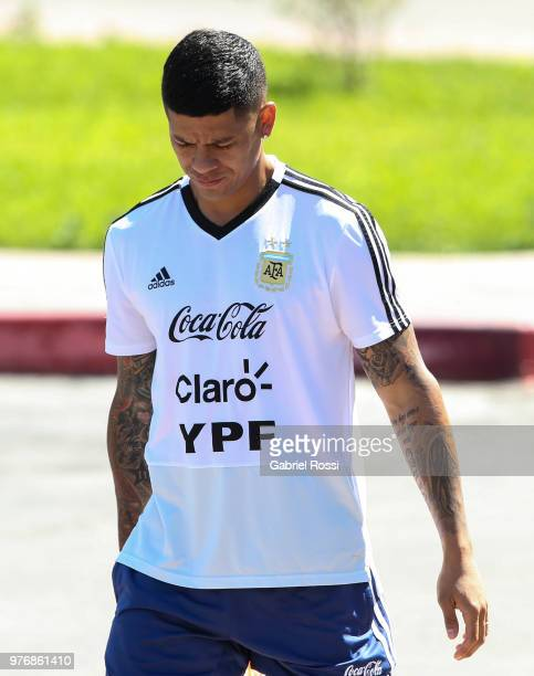 Marcos Rojo of Argentina looks on prior a training session at the team base camp on June 17, 2018 in Bronnitsy, Russia.