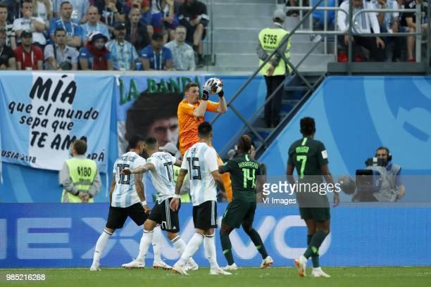 Marcos Rojo of Argentina Nicolas Otamendi of Argentina goalkeeper Franco Armani of Argentina Enzo Perez of Argentina Kelechi Iheanacho of Nigeria...