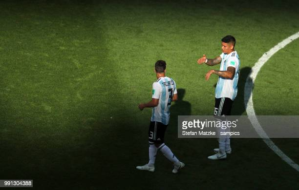 Marcos ROJO of Argentina Nicolas TAGLIAFICO of Argentina during the 2018 FIFA World Cup Russia Round of 16 match between France and Argentina at...