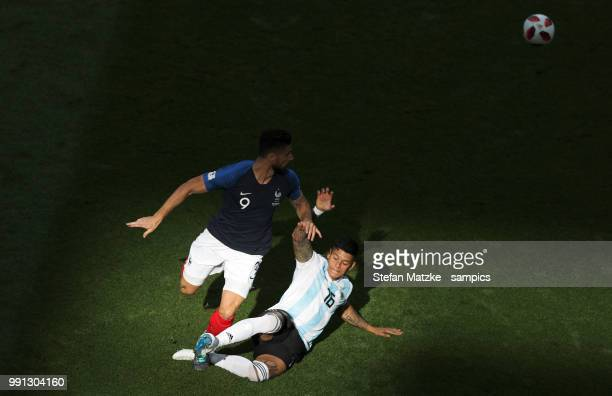 Marcos ROJO of Argentina Olivier Giroud of France during the 2018 FIFA World Cup Russia Round of 16 match between France and Argentina at Kazan Arena...
