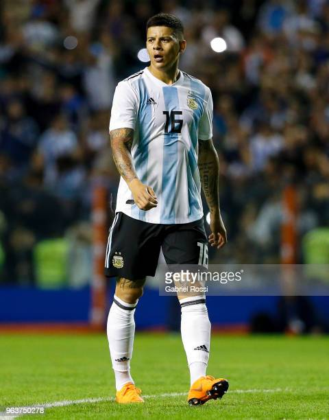 Marcos Rojo of Argentina on during an international friendly match between Argentina and Haiti at Alberto J Armando Stadium on May 29 2018 in Buenos...