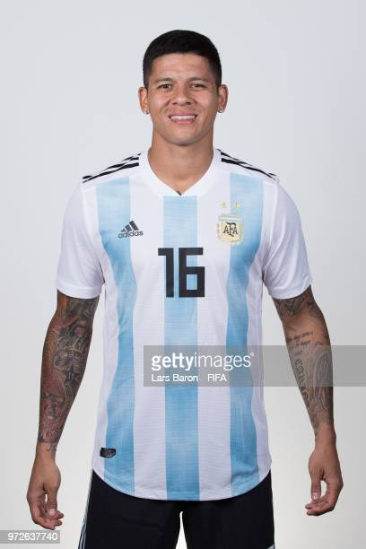 Marcos Rojo of Argentina poses for a portrait during the official FIFA World Cup 2018 portrait session on June 12 2018 in Moscow Russia