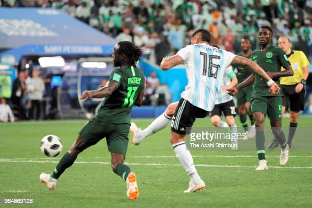 Marcos Rojo of Argentina scores his side's second goal during the 2018 FIFA World Cup Russia group D match between Nigeria and Argentina at Saint...