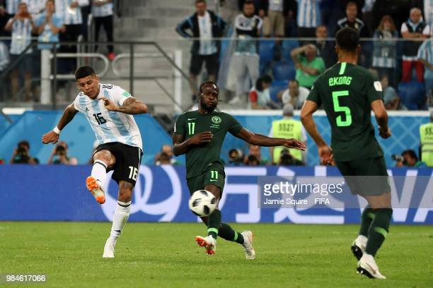 Marcos Rojo of Argentina scores his team's second goal during the 2018 FIFA World Cup Russia group D match between Nigeria and Argentina at Saint...