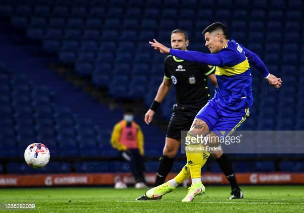 Marcos Rojo of Boca Juniors kicks the ball during a match between Boca Juniors and Defensa y Justicia as part of Torneo Liga Profesional 2021 at...