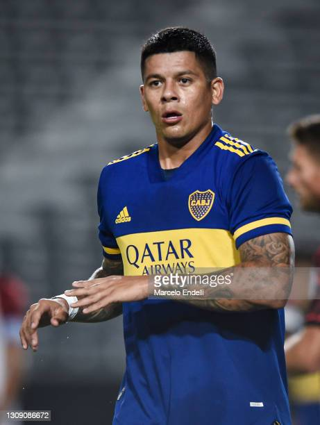 Marcos Rojo of Boca Juniors looks on during a match between Boca Juniors and Defensores de Belgrano as part of Round of 32 of Copa Argentina 2021 at...