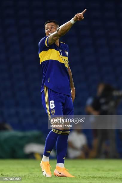 Marcos Rojo of Boca Juniors reacts during a match between Boca Juniors and River Plate as part of Copa De La Liga Profesional 2021 at Estadio Alberto...