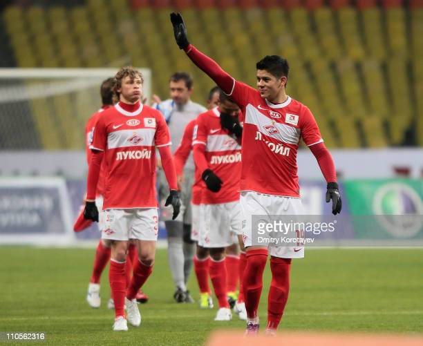 Marcos Rojo of FC Spartak Moscow celebrates his team's 1-0 victory at the close of the Russian Premier League match between FC Spartak Moscow and FC...