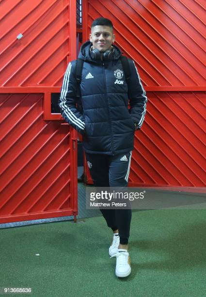 Marcos Rojo of Manchester United arrives ahead of the Premier League match between Manchester United and Huddersfield Town at Old Trafford on...