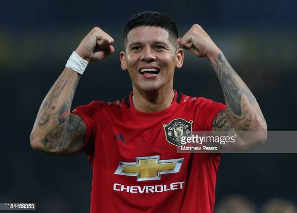 Marcos Rojo of Manchester United celebrates after the Carabao Cup Round of 16 match between Chelsea FC and Manchester United at Stamford Bridge on...