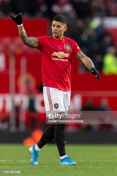 Marcos Rojo of Manchester United celebrates after the match during the Premier League match between Manchester United and Brighton & Hove Albion at...