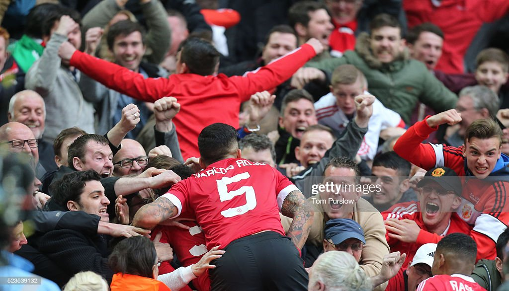 Marcos Rojo of Manchester United celebrates at the final whistle of the Emirates FA Cup Semi Final match between Manchester United and Everton at Wembley Stadium on April 23, 2016 in London, England.