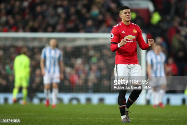 Marcos Rojo of Manchester United celebrates during the Premier League match between Manchester United and Huddersfield Town at Old Trafford on...