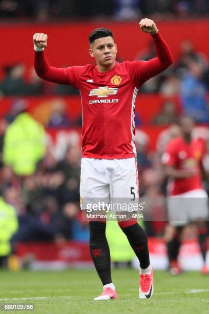 Marcos Rojo of Manchester United celebrates his team's first goal during the Premier League match between Manchester United and Chelsea at Old...