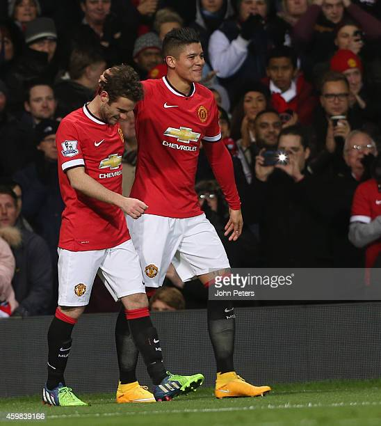 Marcos Rojo of Manchester United celebrates scoring their second goal during the Barclays Premier League match between Manchester United and Stoke...