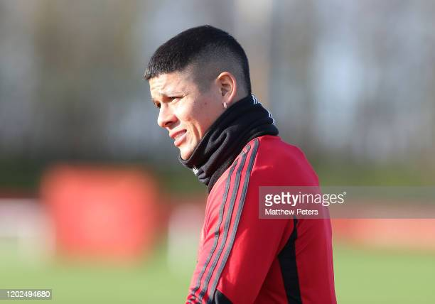 Marcos Rojo of Manchester United in action during a first team training session at Aon Training Complex on January 28, 2020 in Manchester, England.
