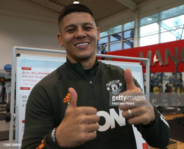 Marcos Rojo of Manchester United in action during a first team training session at Aon Training Complex on November 27, 2020 in Manchester, England.