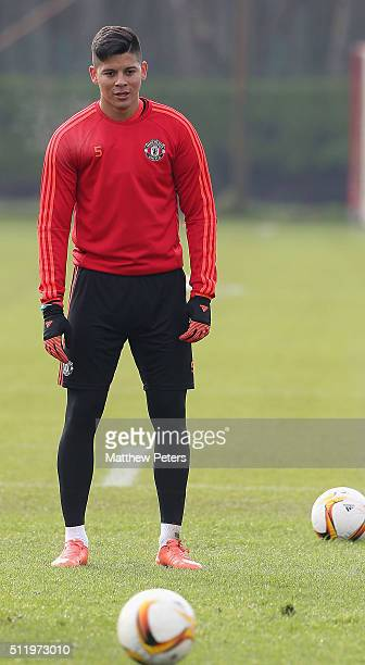 Marcos Rojo of Manchester United in action during a first team training session at Aon Training Complex on February 24 2016 in Manchester United...
