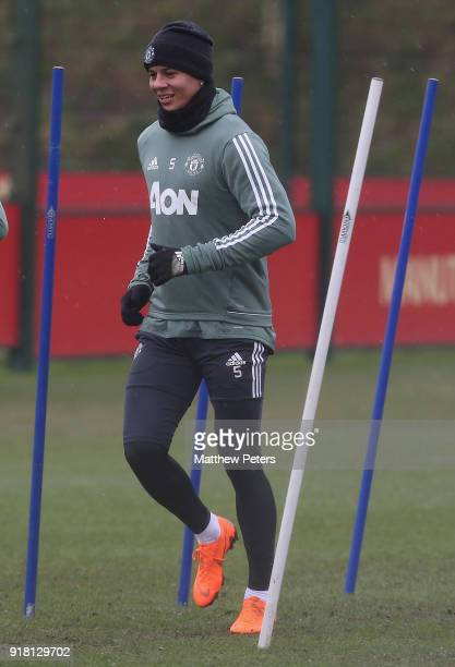 Marcos Rojo of Manchester United in action during a first team training session at Aon Training Complex on February 14 2018 in Manchester England