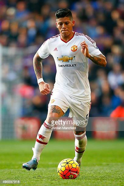 Marcos Rojo of Manchester United in action during the Barclays Premier League match between Crystal Palace and Manchester United at Selhurst Park on...