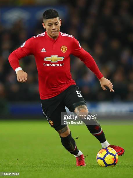 Marcos Rojo of Manchester United in action during the Premier League match between Everton and Manchester United at Goodison Park on January 1 2018...