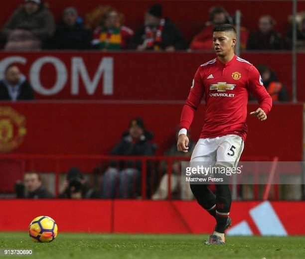 Marcos Rojo of Manchester United in action during the Premier League match between Manchester United and Huddersfield Town at Old Trafford on...