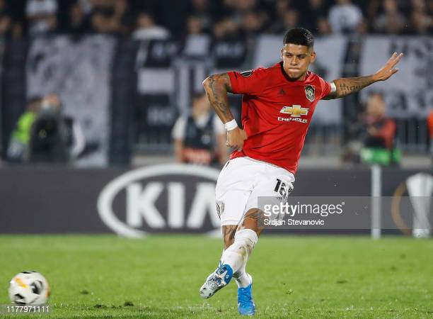 Marcos Rojo of Manchester United in action during the UEFA Europa League group L match between Partizan and Manchester United at Partizan Stadium on...