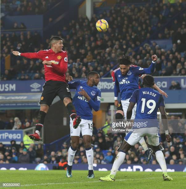 Marcos Rojo of Manchester United in action with Ashley Williams of Everton during the Premier League match between Everton and Manchester United at...