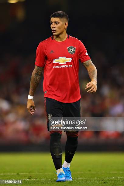 Marcos Rojo of Manchester United looks on during the 2019 International Champions Cup match between Manchester United and AC Milan at Principality...