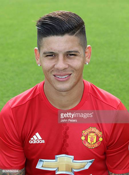 Marcos Rojo of Manchester United poses for a portrait at the Manchester United Official Photocall on September 19 2016 in Manchester England