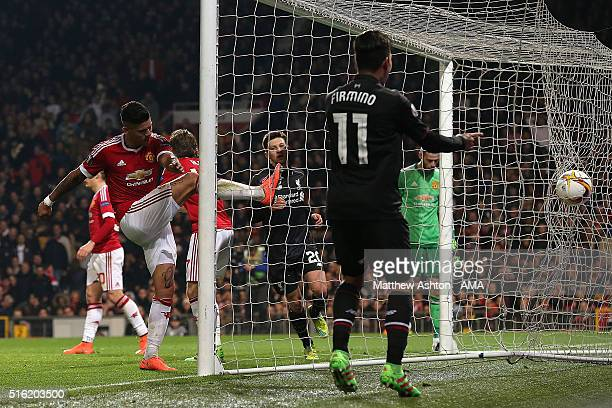 Marcos Rojo of Manchester United reacts after Philippe Coutinho of Liverpool scored his team's first goal during the UEFA Europa League Round of 16...