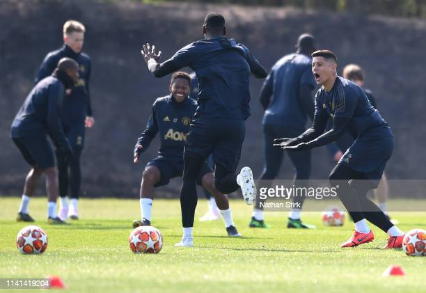 Marcos Rojo of Manchester United reacts during the Manchester United training session ahead of the UEFA Champions League Quarter Final First Leg...