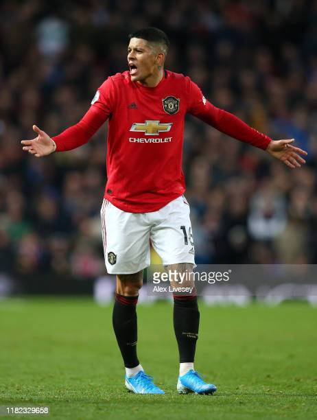 Marcos Rojo of Manchester United reacts during the Premier League match between Manchester United and Liverpool FC at Old Trafford on October 20,...