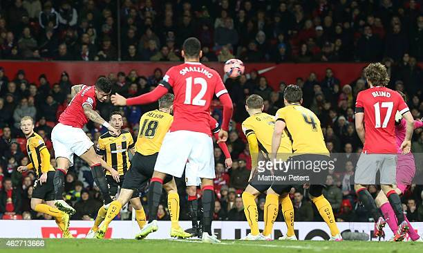 Marcos Rojo of Manchester United scores their second goal during the FA Cup Fourth Round replay match between Manchester United and Cambridge United...