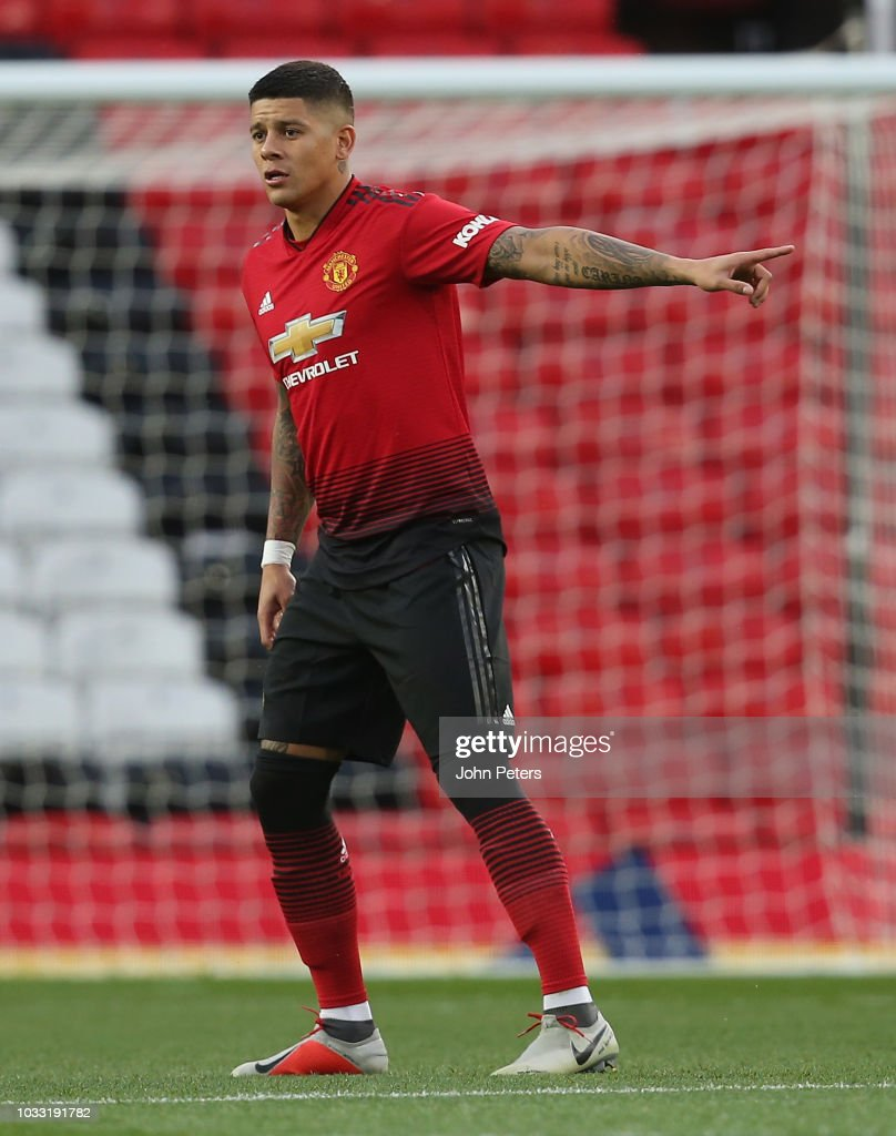 Marcos Rojo of Manchester United U23s in action during the Premier League 2 match between Manchester United U23s and Reading U23s at Old Trafford on September 14, 2018 in Manchester, England.