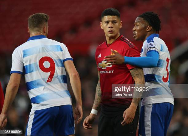 Marcos Rojo of Manchester United U23s in action during the Premier League 2 match between Manchester United U23s and Reading U23s at Old Trafford on...