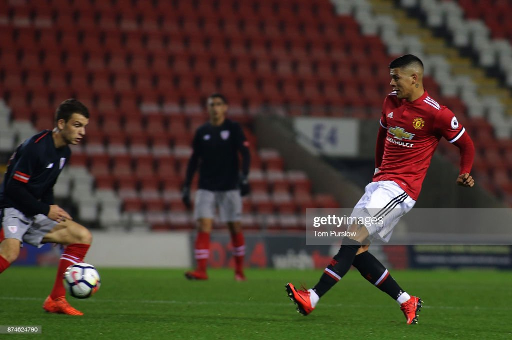 Marcos Rojo of Manchester United U23s in action during the Premier League International Cup match between Manchester United U23s and Athletic Bilbao U23s at Leigh Sports Village on November 15, 2017 in Leigh, Greater Manchester.