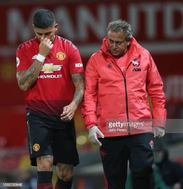 Marcos Rojo of Manchester United U23s leaves the match after being substitued during the Premier League 2 match between Manchester United U23s and...