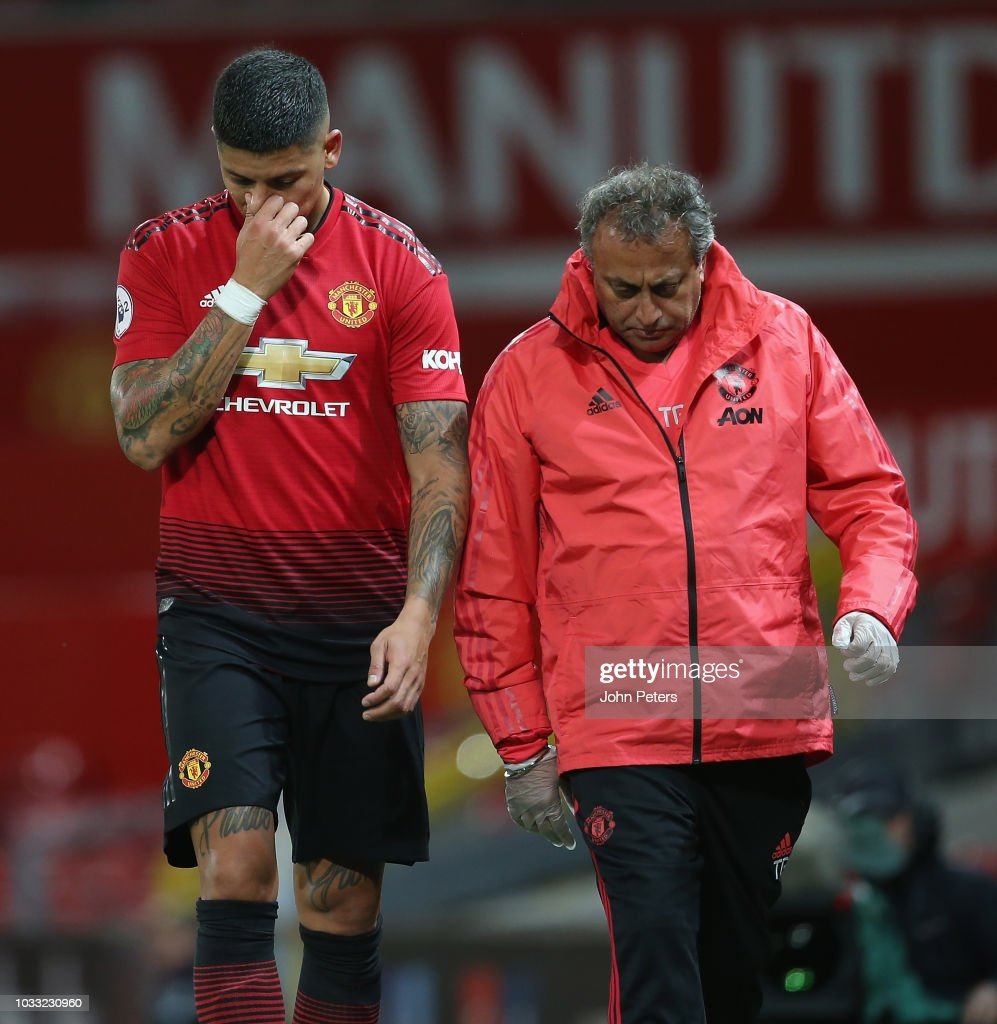 Marcos Rojo of Manchester United U23s leaves the match after being substitued during the Premier League 2 match between Manchester United U23s and Reading U23s at Old Trafford on September 14, 2018 in Manchester, England.