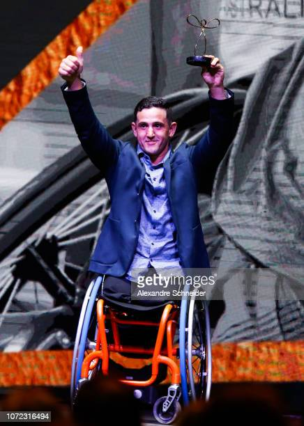 Marcos Sanchez paralympic basketball player poses for photo after winning the best athletics athlete during the Brazil Paralympics Awards Ceremony...