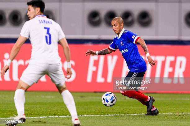 Marcos Santos of Yokohama Marinos runs with the ball during the AFC Champions League Round of 16 match between Yokohama F.Marinos and Suwon Samsung...