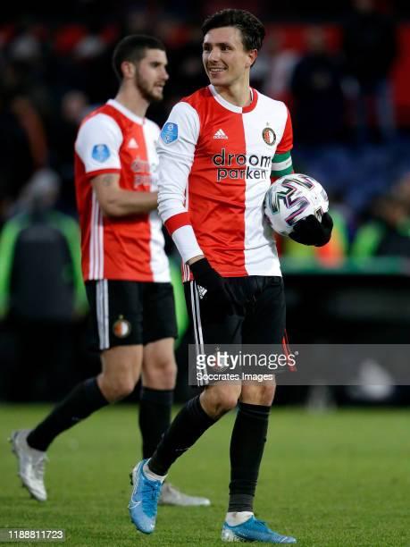 Marcos Senesi of Feyenoord Steven Berghuis of Feyenoord celebrates the victory during the Dutch Eredivisie match between Feyenoord v PSV at the...