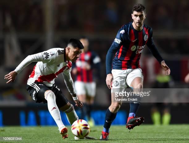 Marcos Senesi of San Lorenzo kicks the ball during a match between San Lorenzo and River Plate as part of Superliga Argentina 2018/19 at Estadio...